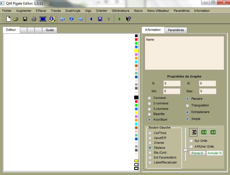 Interface du logiciel Pigale