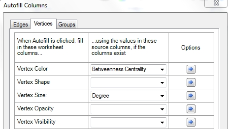 boite de dialogue Autofill columns
